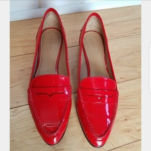 J Crew Red Patent Leather Collins Penny Loafer 9.5
